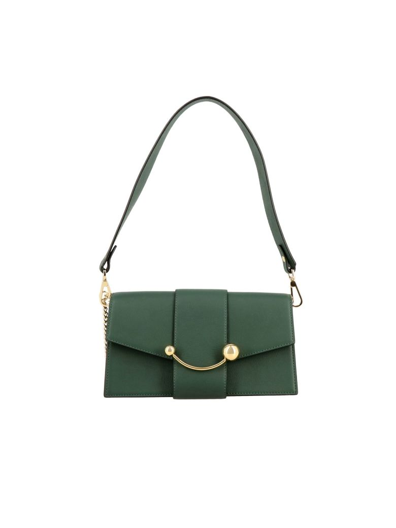 Strathberry Mini Bag Strathberry Mini Crescent Leather Shoulder Bag - green