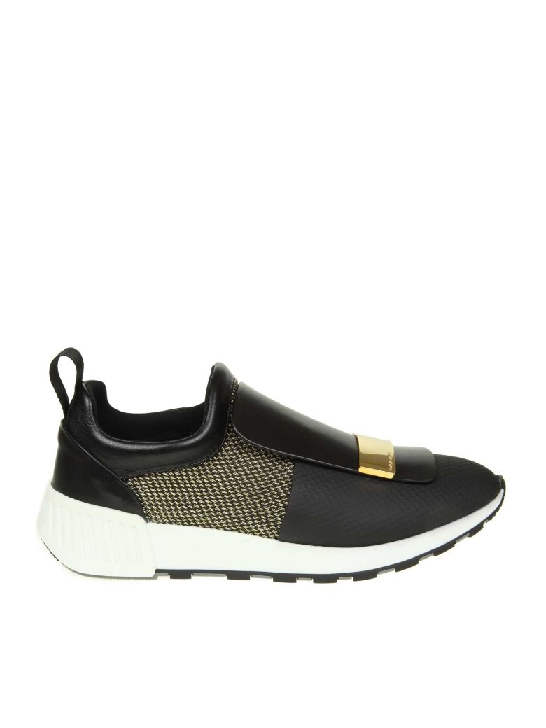 Sergio Rossi Sneakers In Leather And Fabric Color Black And Gold - Black