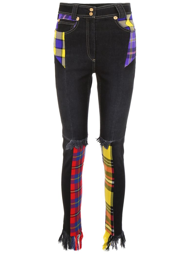 Versace JEANS WITH TARTAN INSERTS