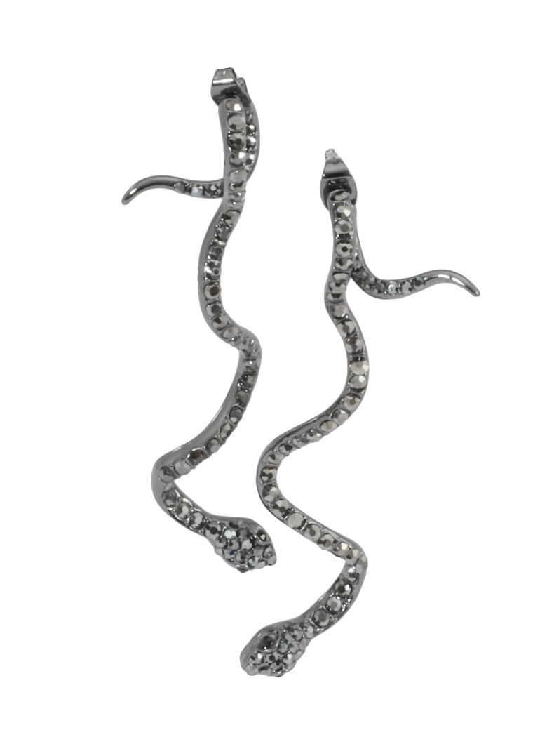 Federica Tosi Long Snake Earrings - GUNMETAL PLATED JETHEM STRASS