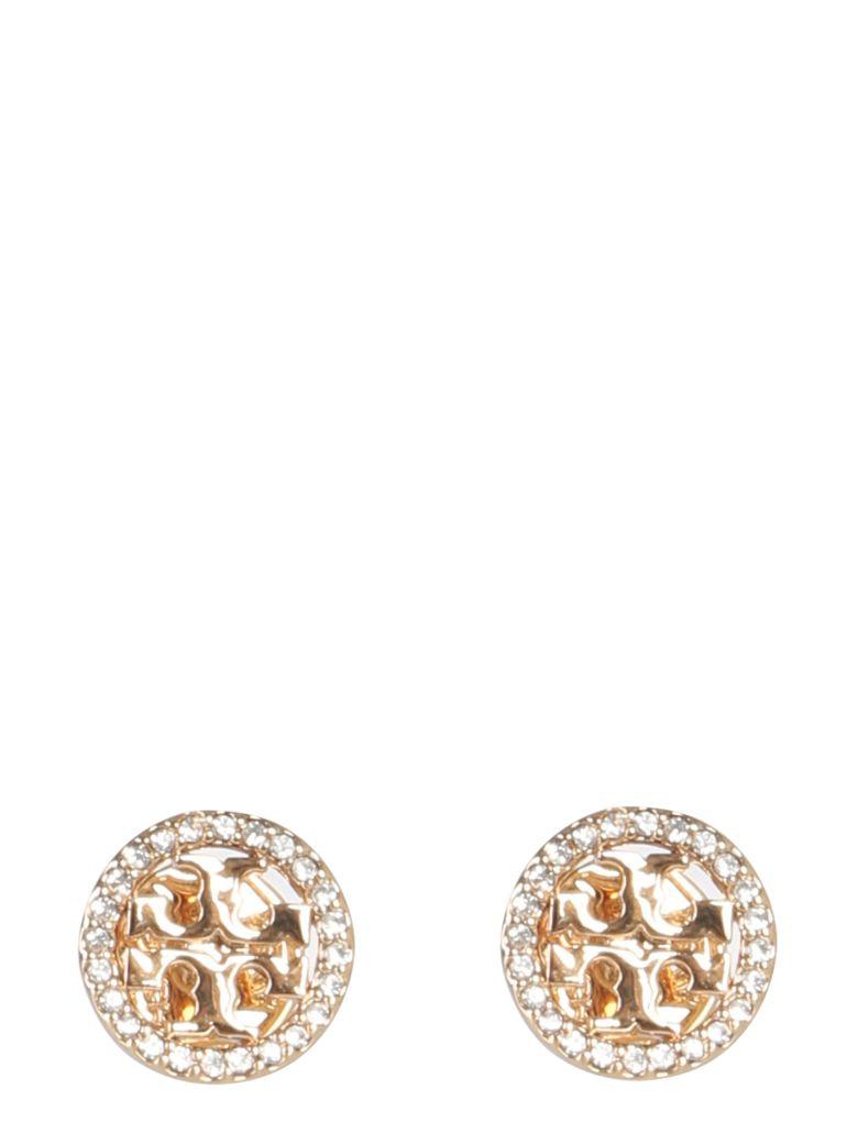 Tory Burch Circle-stud Crystal Logo Earrings - ORO