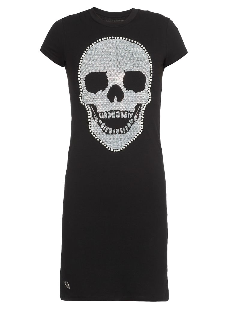Philipp Plein Mini Dress Skull - BLACK