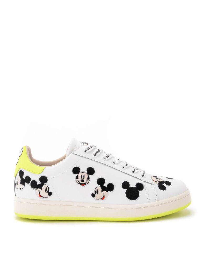 M.O.A. master of arts Moa Mickey Mouse White And Neon Yellow Leather Sneakers - BIANCO