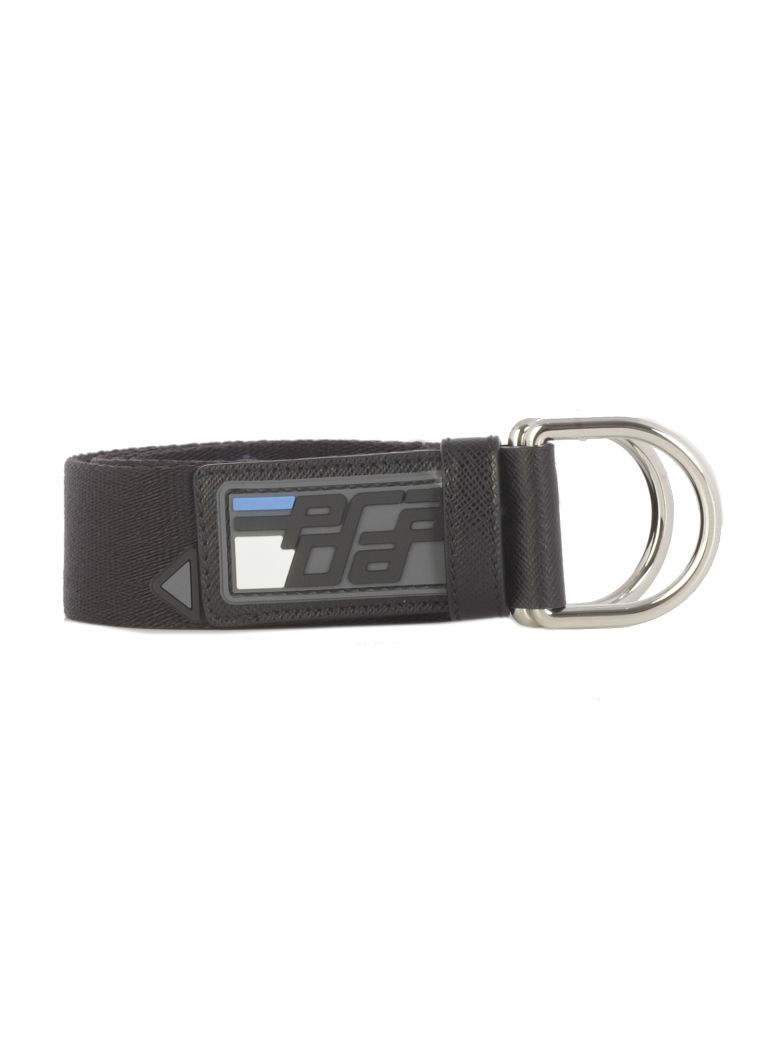 Prada Prada D-ring Logo Belt - Black