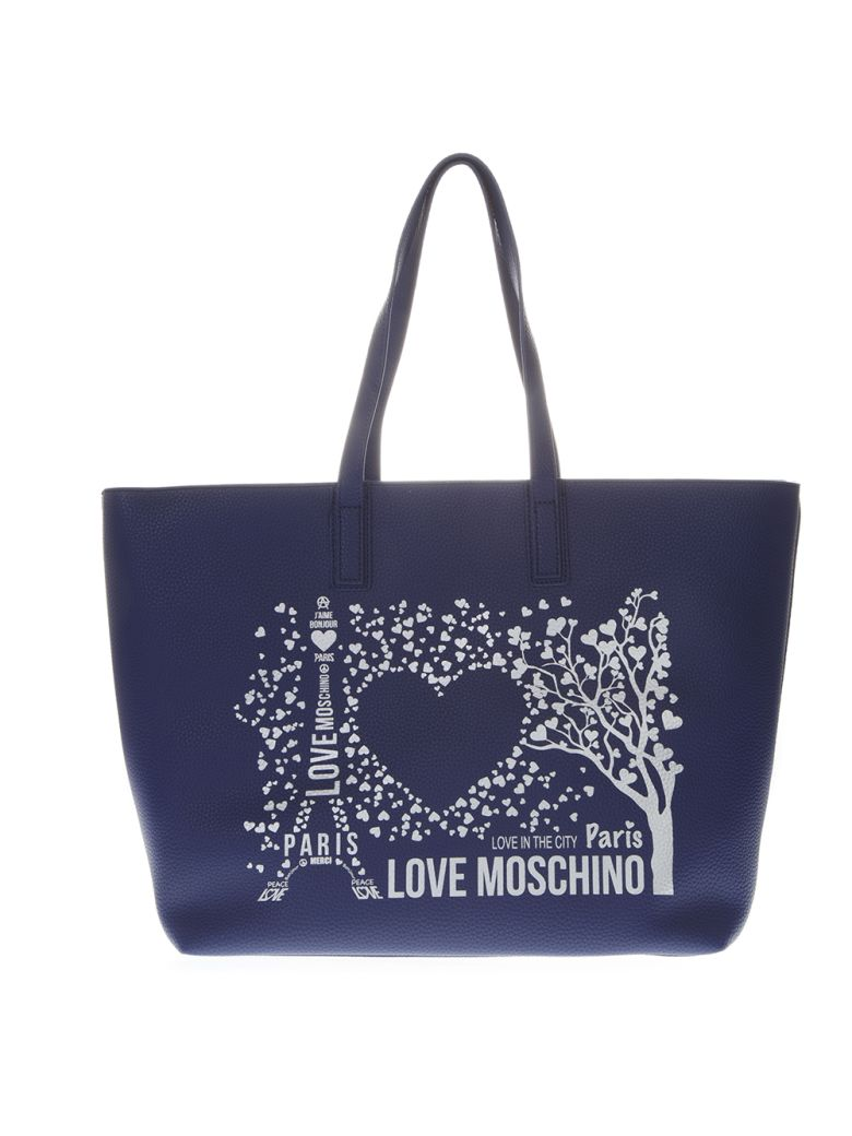 Love Moschino Blue Paris Love Moschino Tote Bag In Faux Leather - Blue