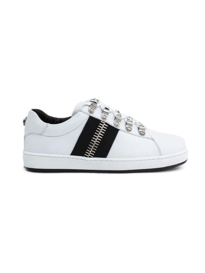 Balmain White Calfskin Lace-up Low-rise Sneaker. - Bianco