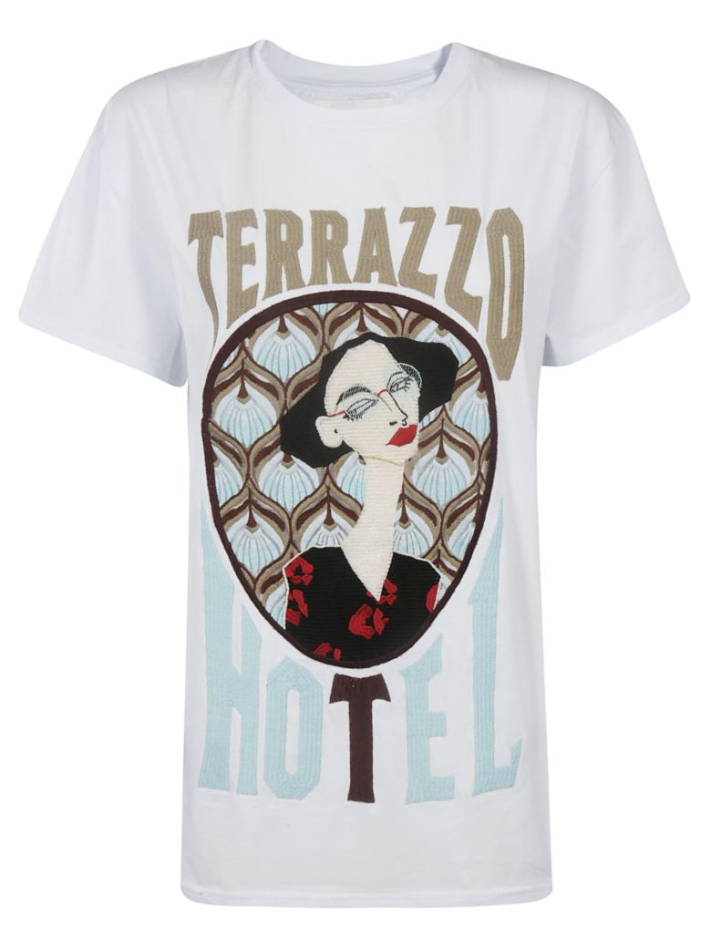 Circus Hotel Embroidered Logo T-Shirt - White