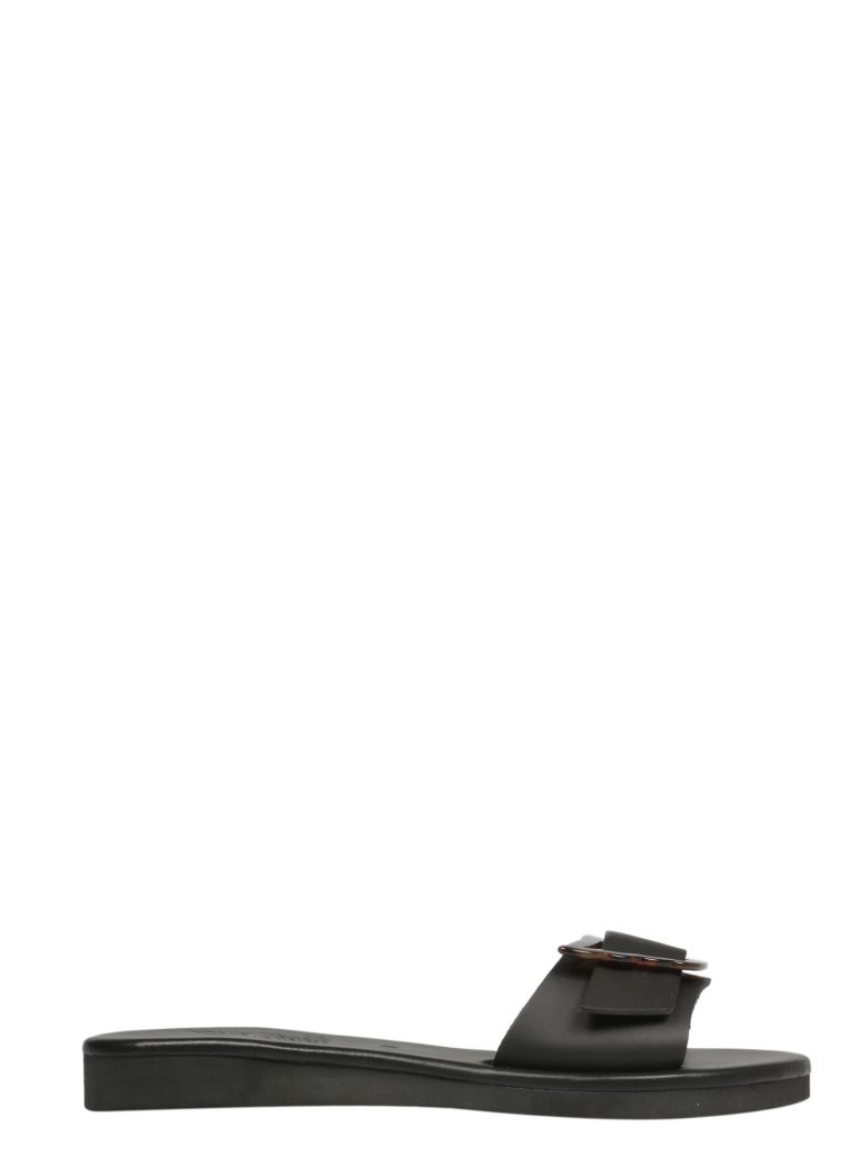 Ancient Greek Sandals Aglaia Sliders - Black Tortoiseshell