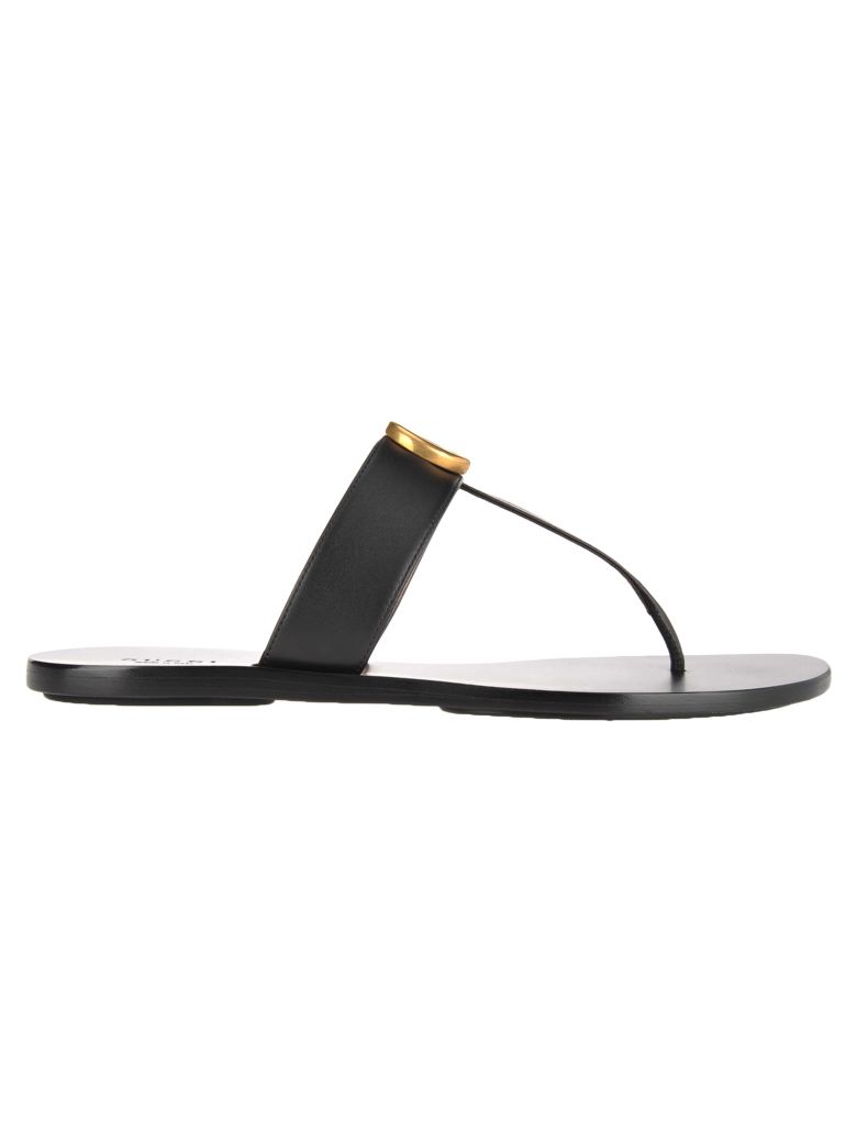Gucci Double G Leather Thong Sandals - BLACK