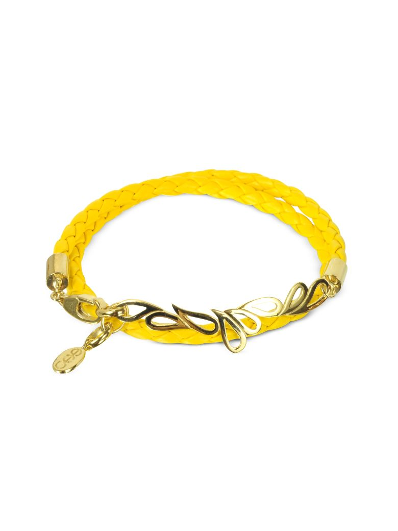 Sho London Mari Fiendship Silver Vermail & Leather Double Bracelet - Yellow