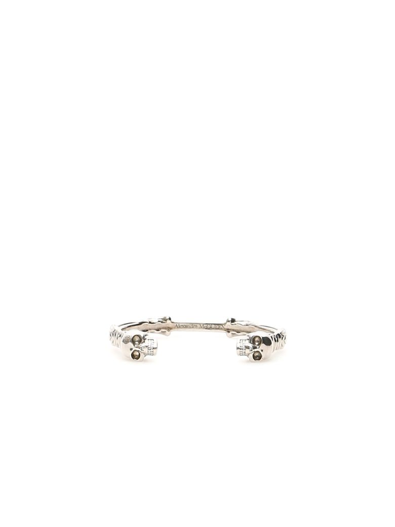 Alexander McQueen Textured Double Skull Bracelet - SILVER (Silver)