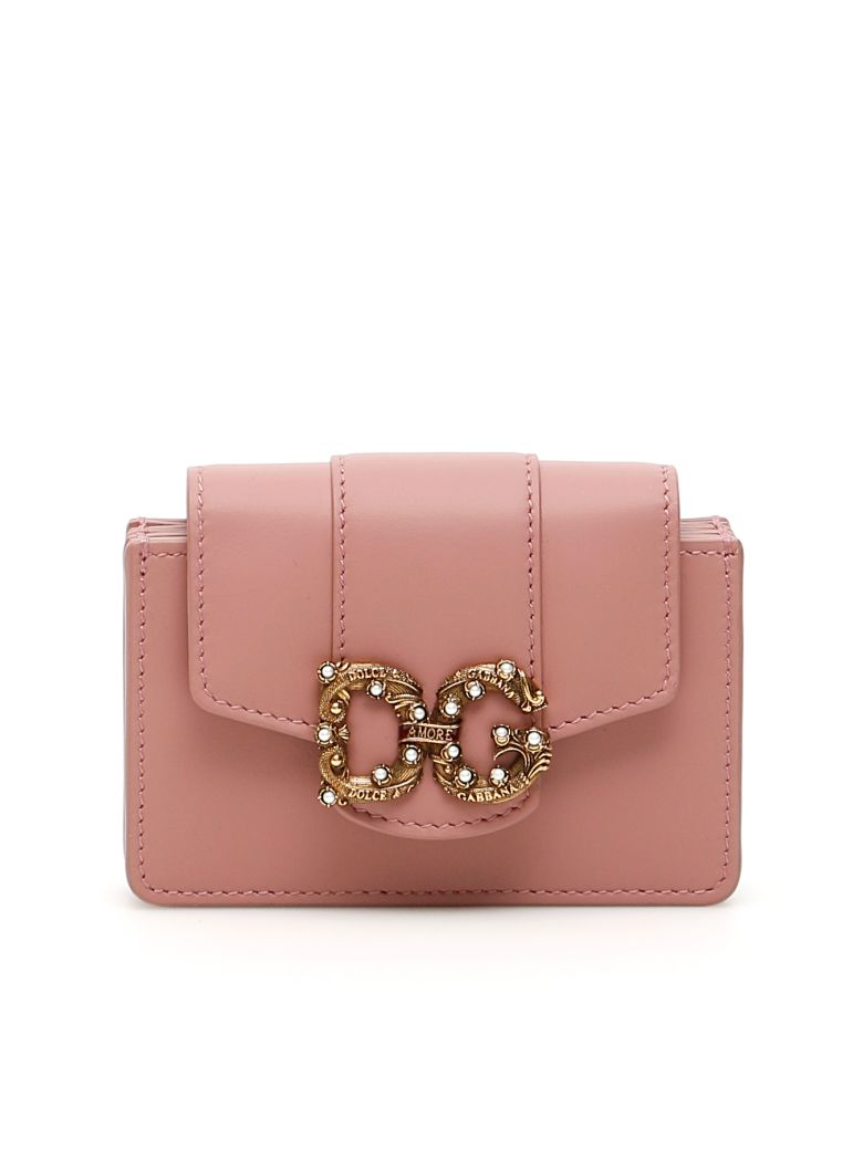 Dolce & Gabbana Leather Dg Amore Cardholder - ROSA POLVERE 2 (Pink)