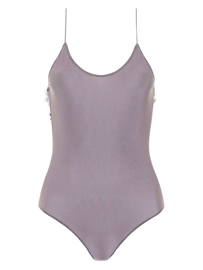 Oseree Swimsuit With Lace - GREY (Grey)