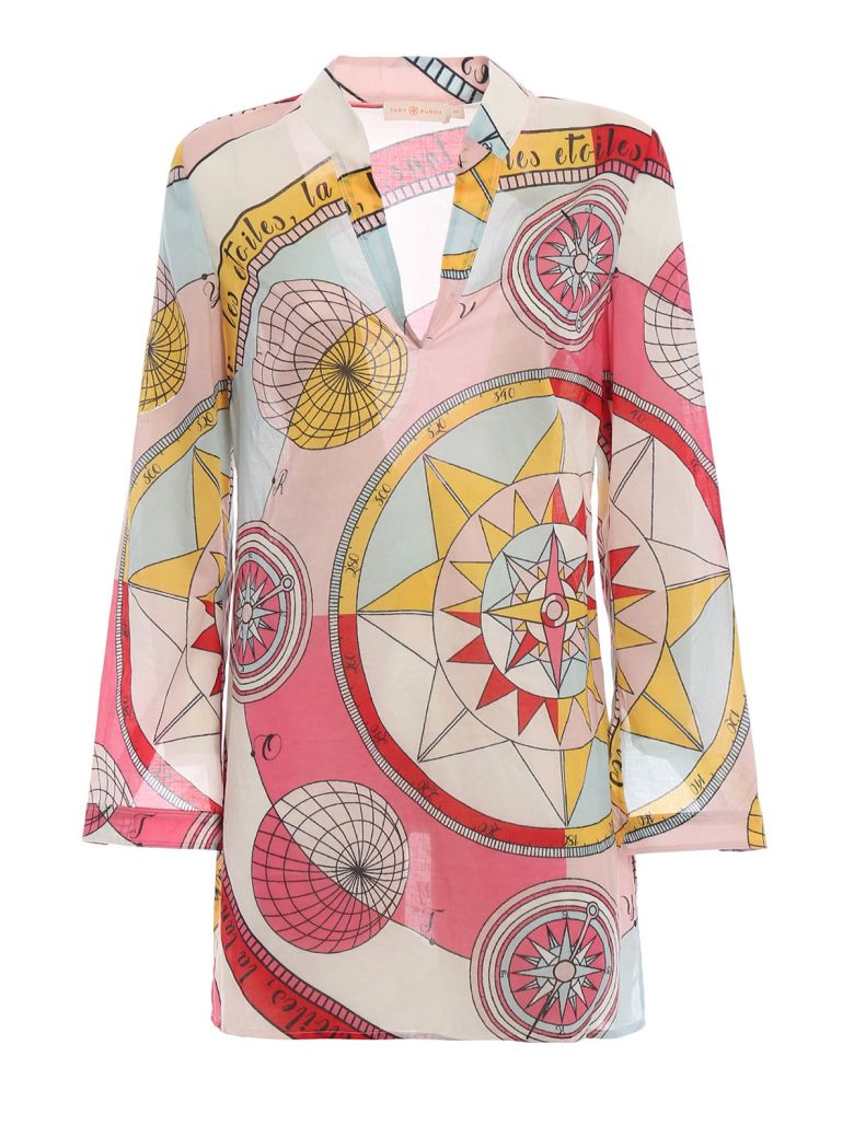 Tory Burch Celestial Chart Print Shirt - Pink Constellation