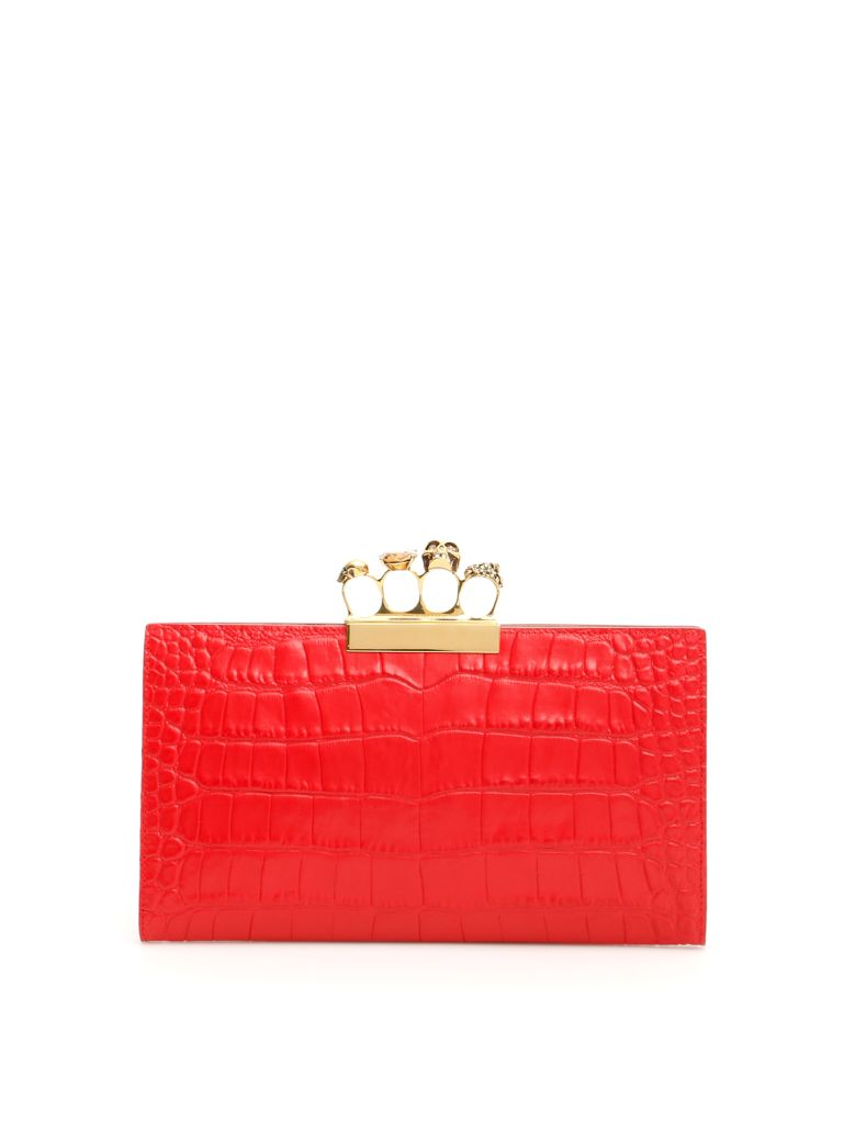 Alexander McQueen Skull Clutch With Four Rings - SCARLET RED (Red)