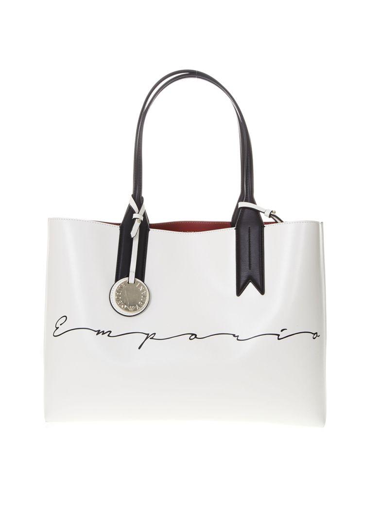 bc4e45698163 Emporio Armani Emporio Armani Shopper Bag In White Faux Leather With ...