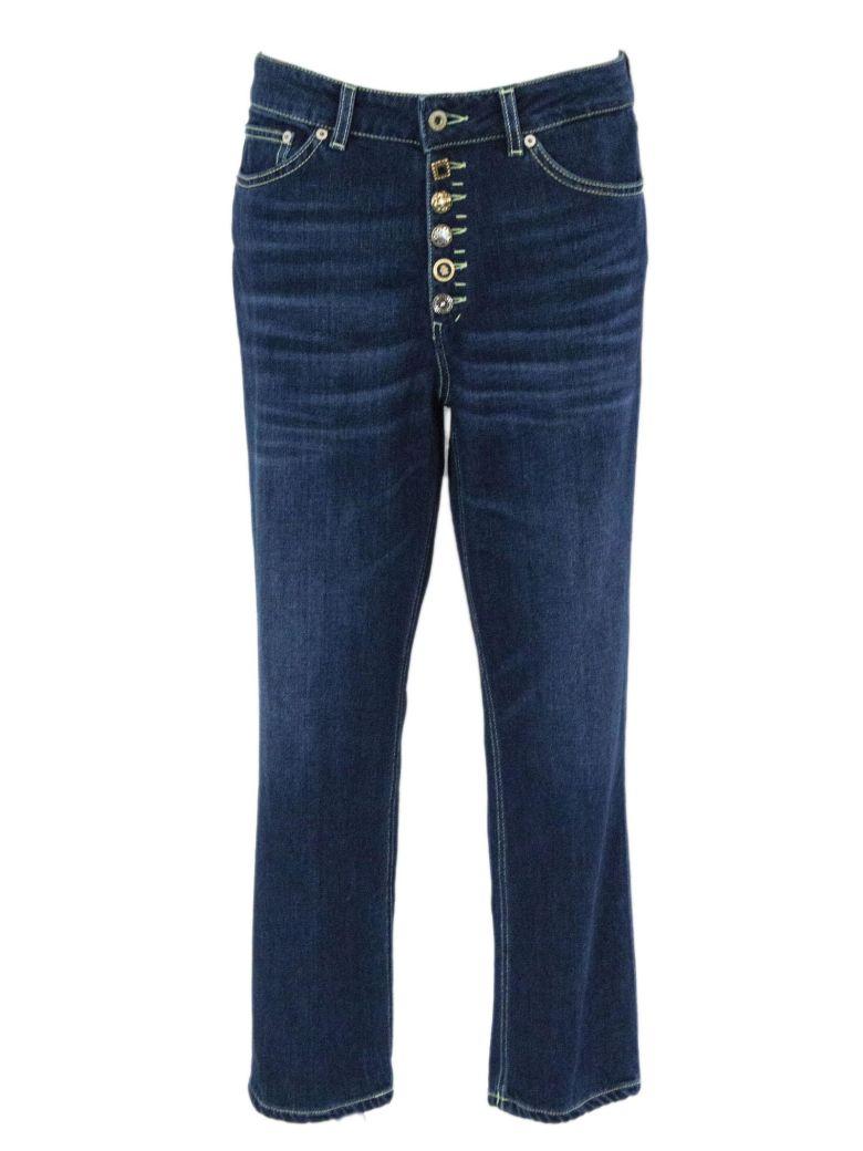 Dondup Blue Cotton Boyfriend-fit Stretch Jeans. - Denim
