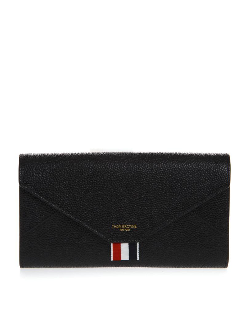 Thom Browne Black Leather Versatile Wallet - Black