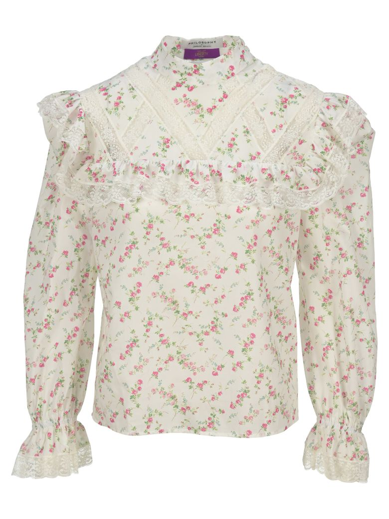 Philosophy di Lorenzo Serafini Philosophy Lace Trimmed Floral Print Blouse - WHITE + PINK
