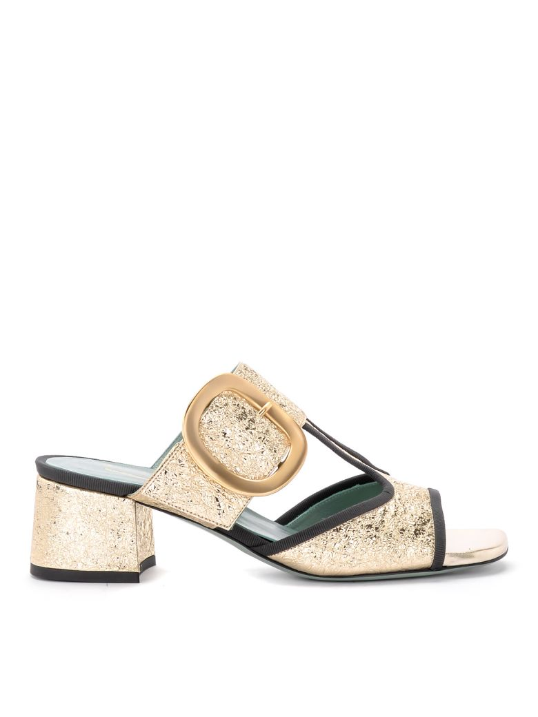 Paola D'Arcano Tory Platinum Craqueled Leather Sandal - ORO
