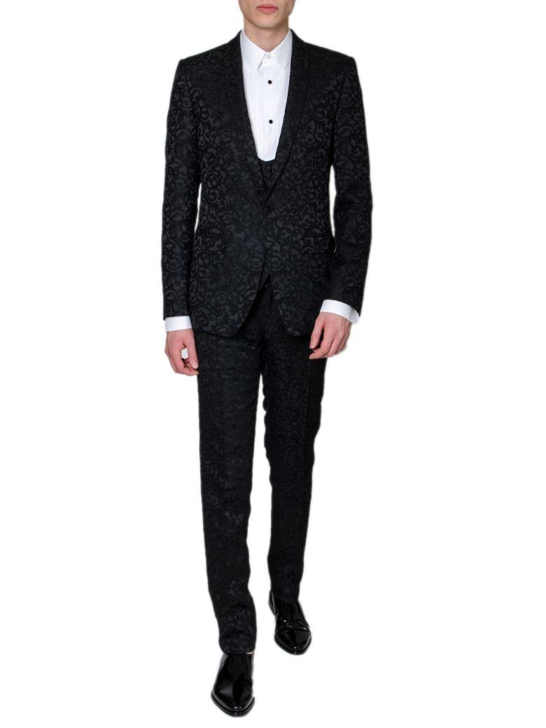 Dolce & Gabbana Black Jacquard Silk Flower Dress - Black