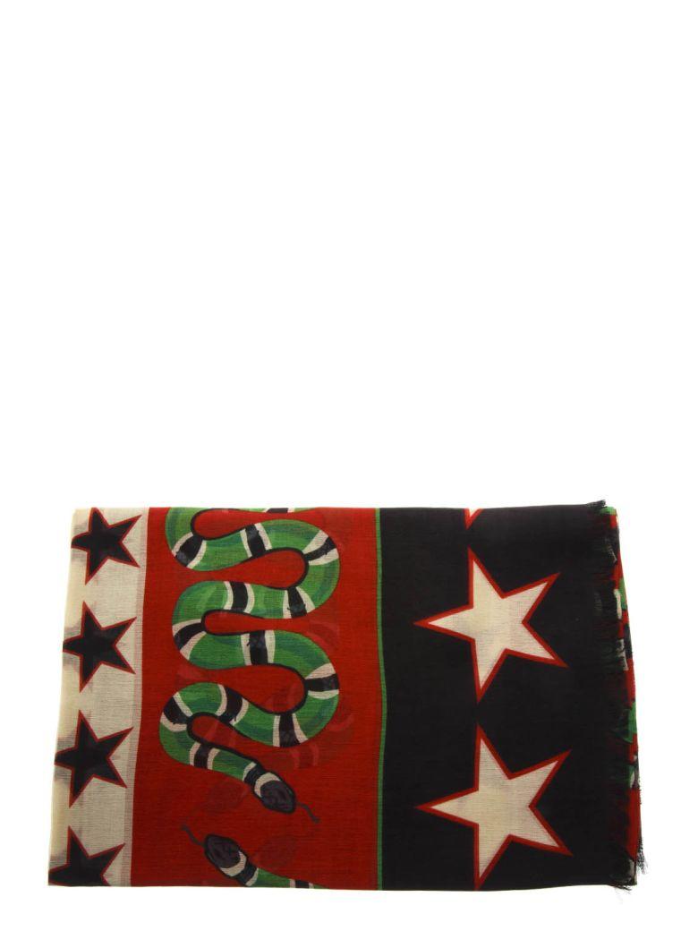 Gucci Black Multicolored Shawl With Iconic Symbols - Black/multicolor