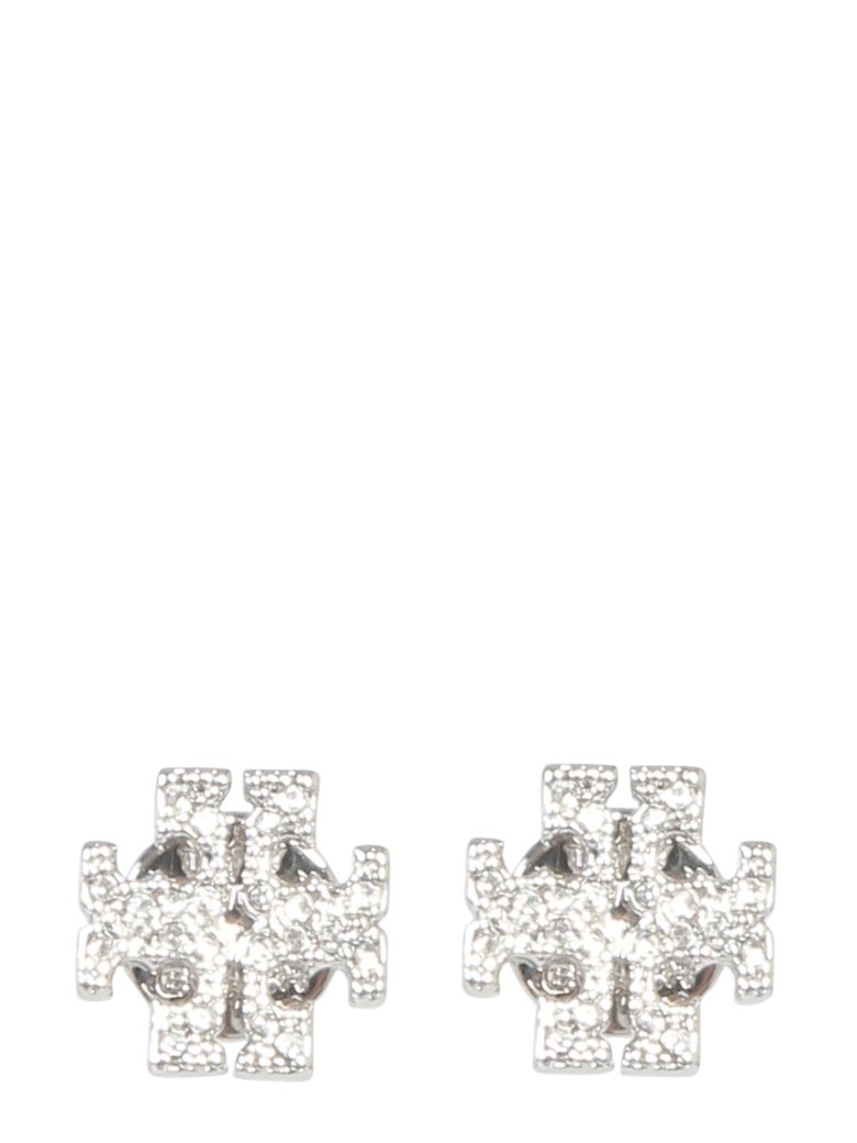 Tory Burch Crystal Logo Earrings - ARGENTO