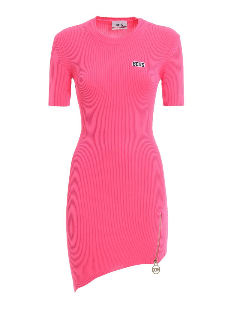 GCDS Ribbed Fitted Dress - Pink