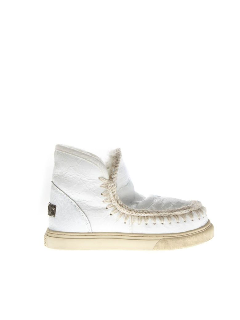 Mou White Waxy Wool & Leather Boots Sneakers - White