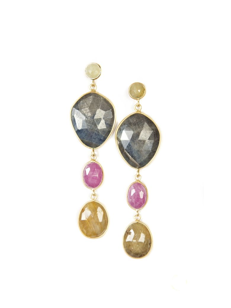 Bianca Baykam Crystal Detail Earrings - Blu Rosso Giallo