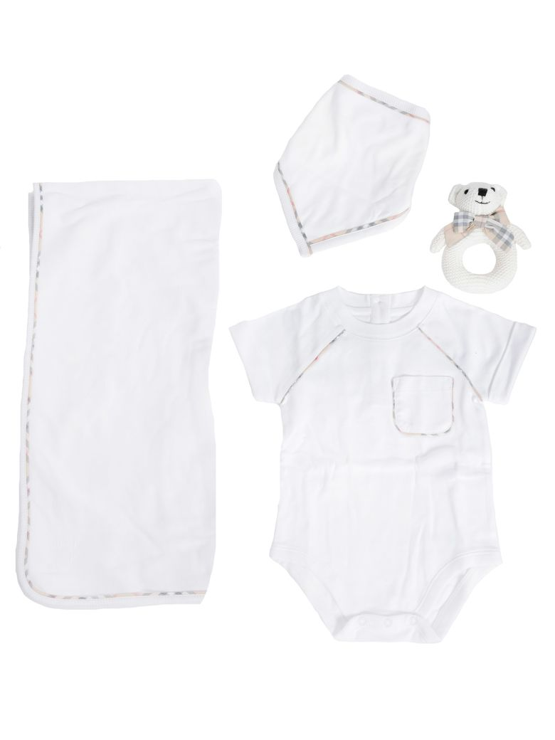Burberry Kids Check Trim Rompers And Cap Set