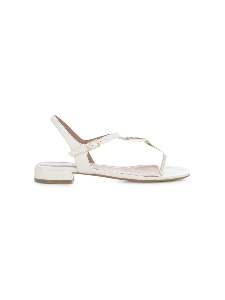 Emporio Armani Flip Flops Sandals W/circle Logo - Bianco