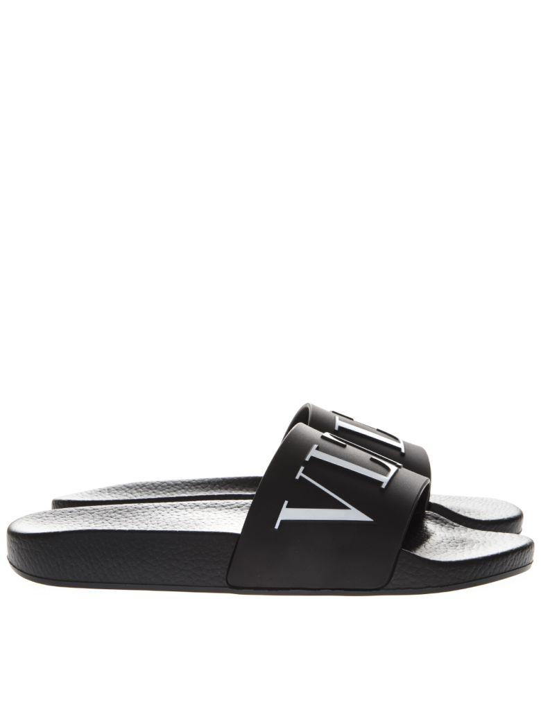 Valentino Garavani Black Vltn Rubber Slide Sandal - Nero/bianco