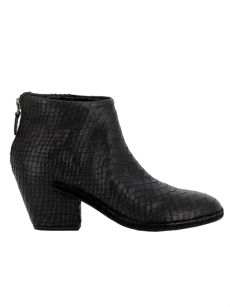 Roberto del Carlo Black Leather Ankle Boots - BLACK