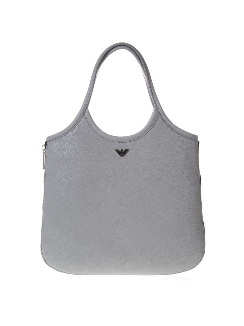Emporio Armani Hobo Grey Leather Tote With Zip Around - Gray