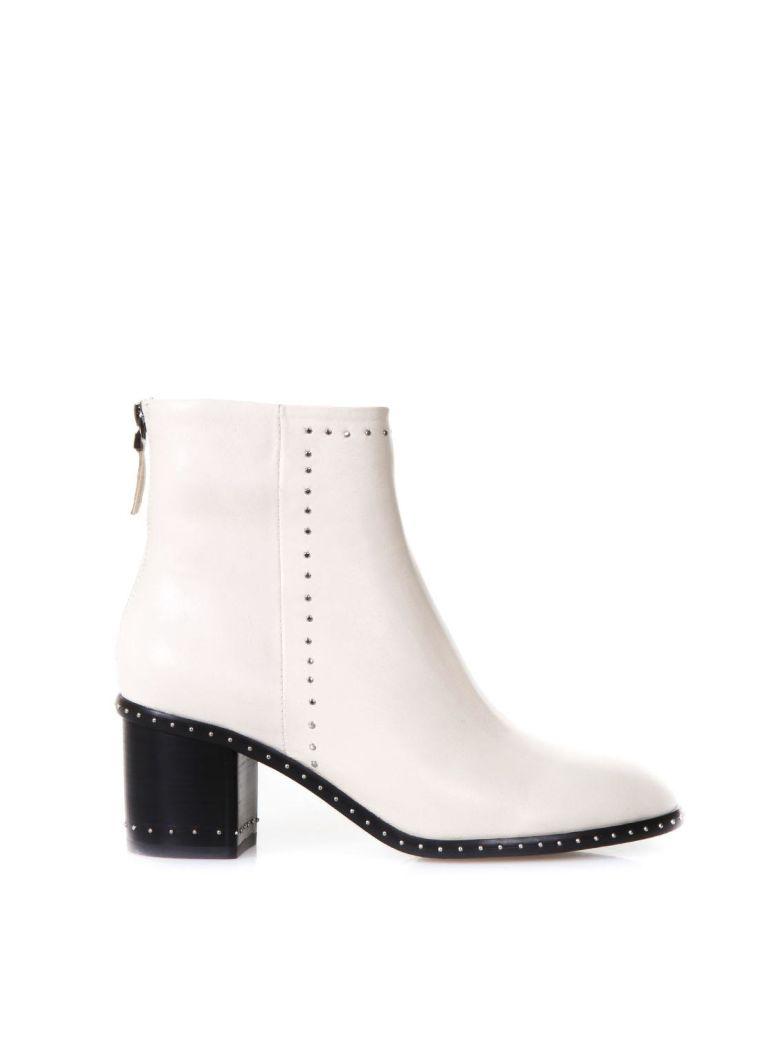 Lola Cruz Studded Ivory Leather Ankle Boots - Ivory