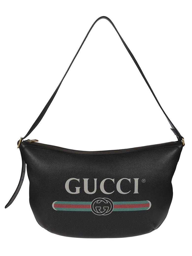 Gucci Logo Print Shoulder Bag - black