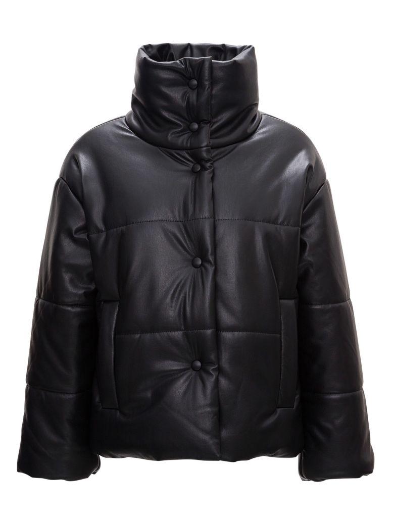 Nanushka Quilted Puffer Jacket In Vegan Leather - Black