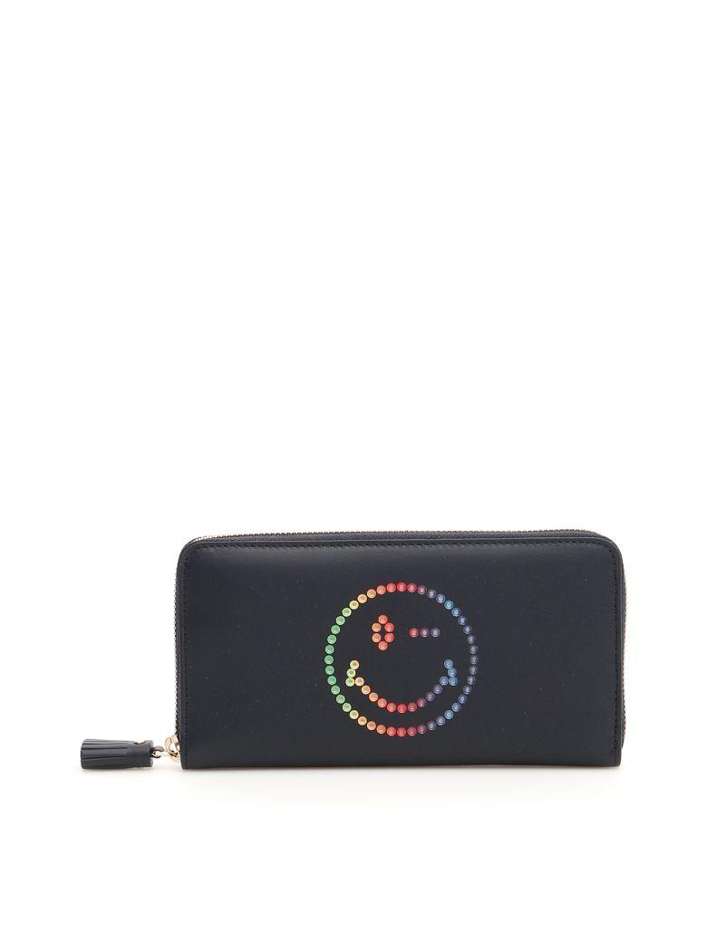 Anya Hindmarch Zip-around Wallet With Multicolor Smiley - MARINE (Blue)