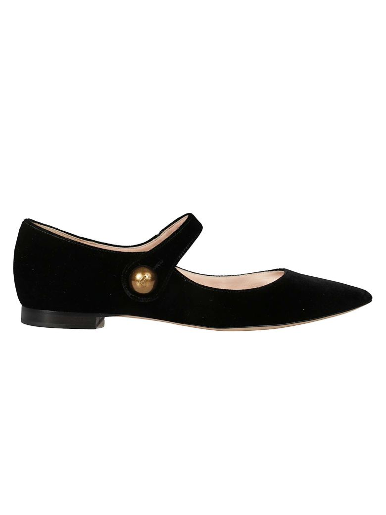 Rochas Pointed Toe Ballerinas - Black