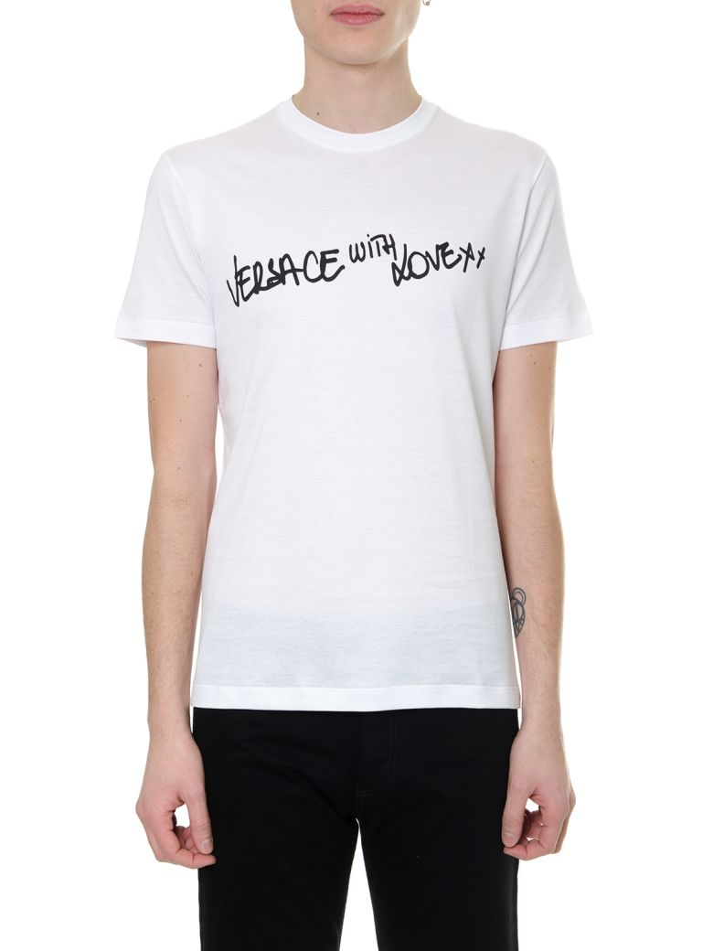 Versace White T-shirt Versace With Love In Eco-sustainable Cotton - White/black