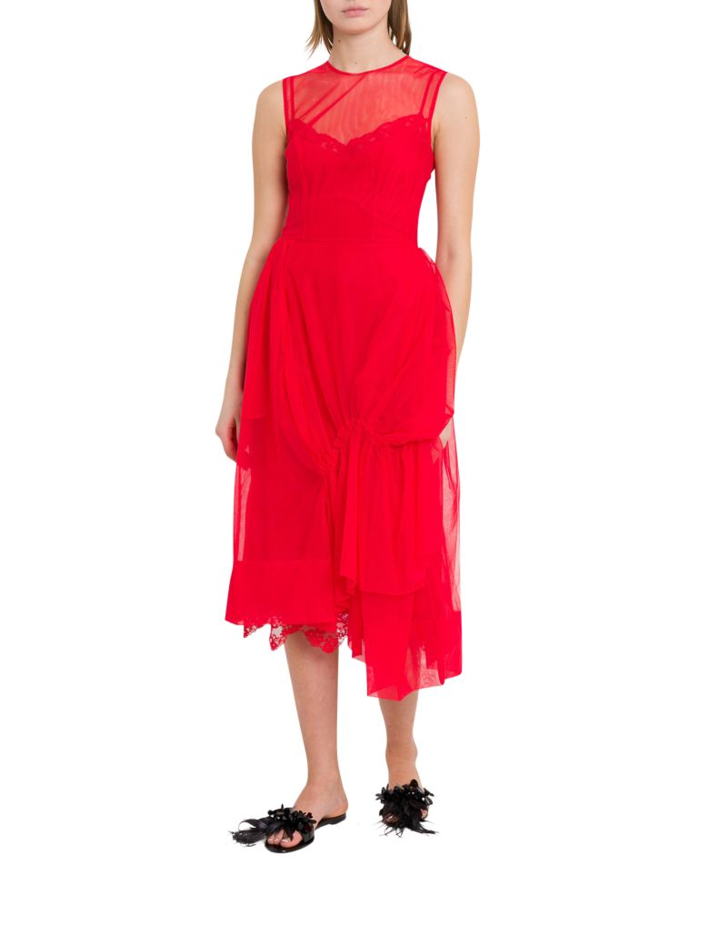 Simone Rocha Gathered Tulle Dress - Rosso