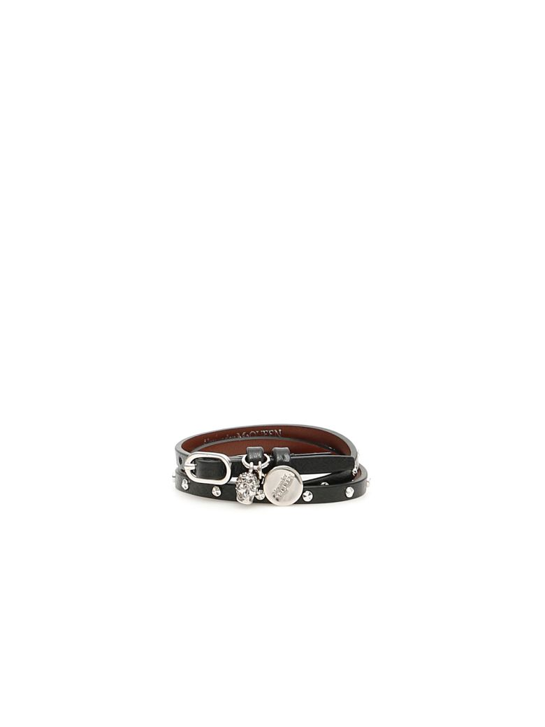Alexander McQueen Multi Wrap Skull Bracelet With Studs - BLACK (Black)