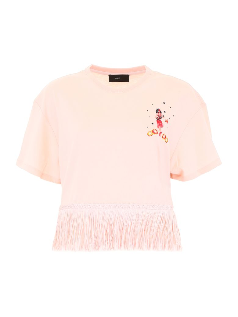 Alanui Fringed Hawaiian T-shirt - PINK MULTI (Pink)