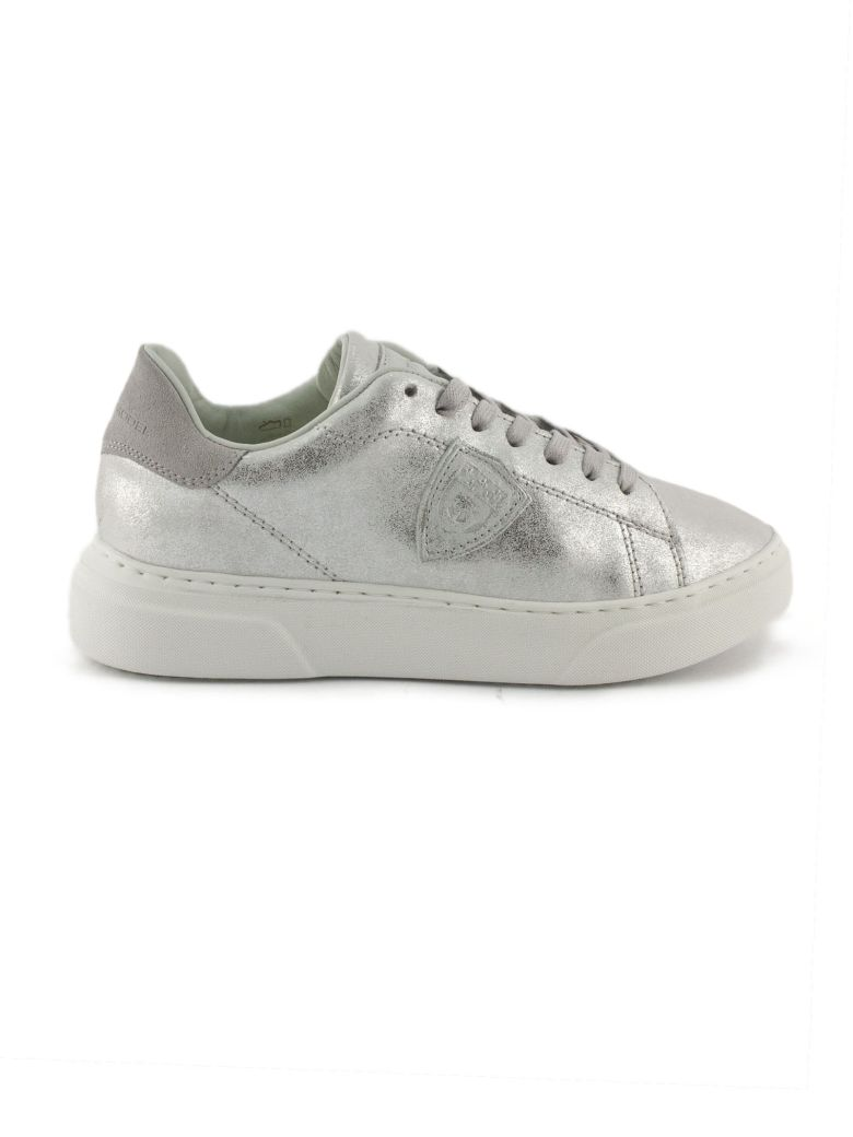Philippe Model Silver-tone Leather Temple Femme Sneaker - Silver