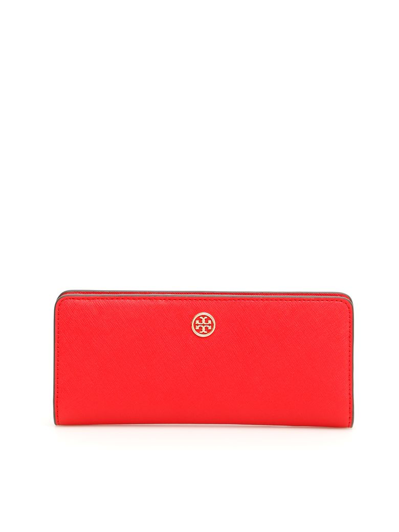 Tory Burch Slim Continental Robinson Wallet - BRILLIANT RED (Red)