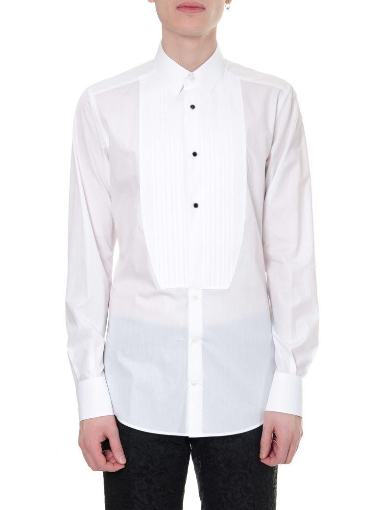Dolce & Gabbana White Cotton Pleated Bib Shirt - White