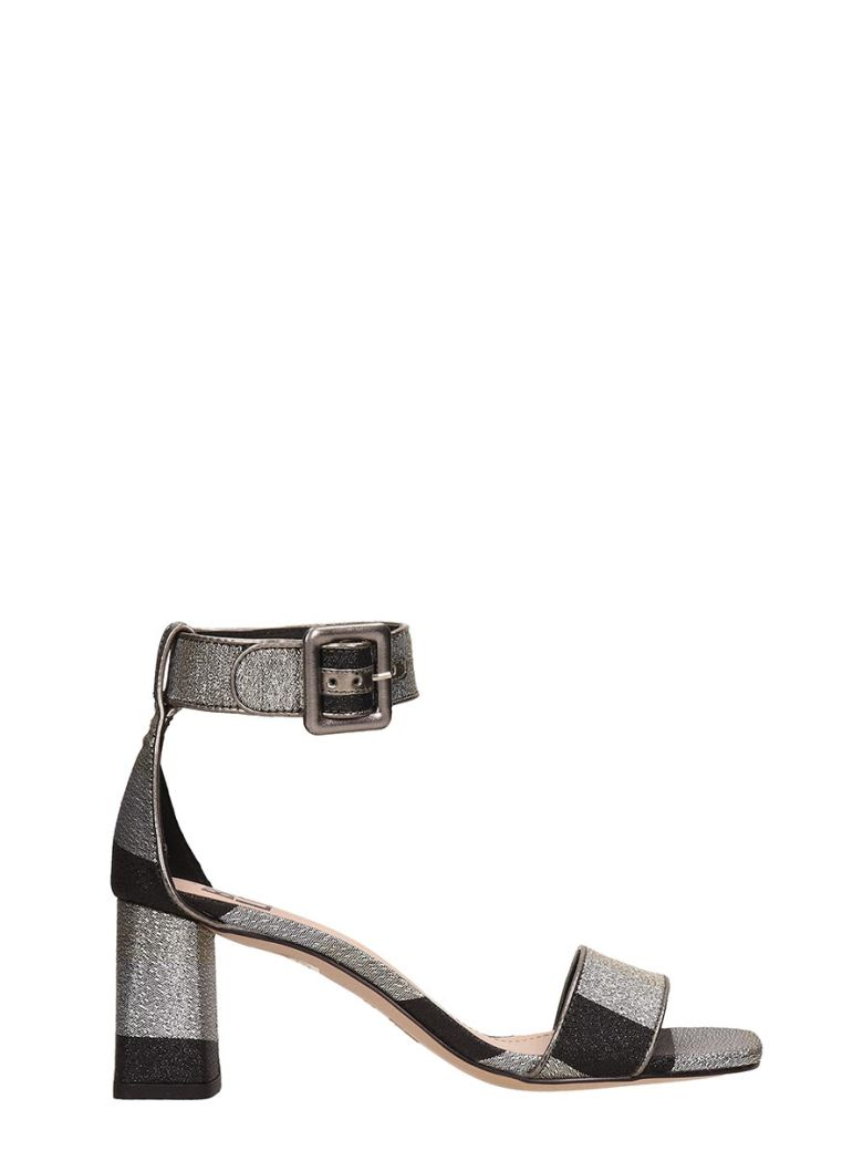 Bibi Lou Silver-black Canvas Sandals - Black