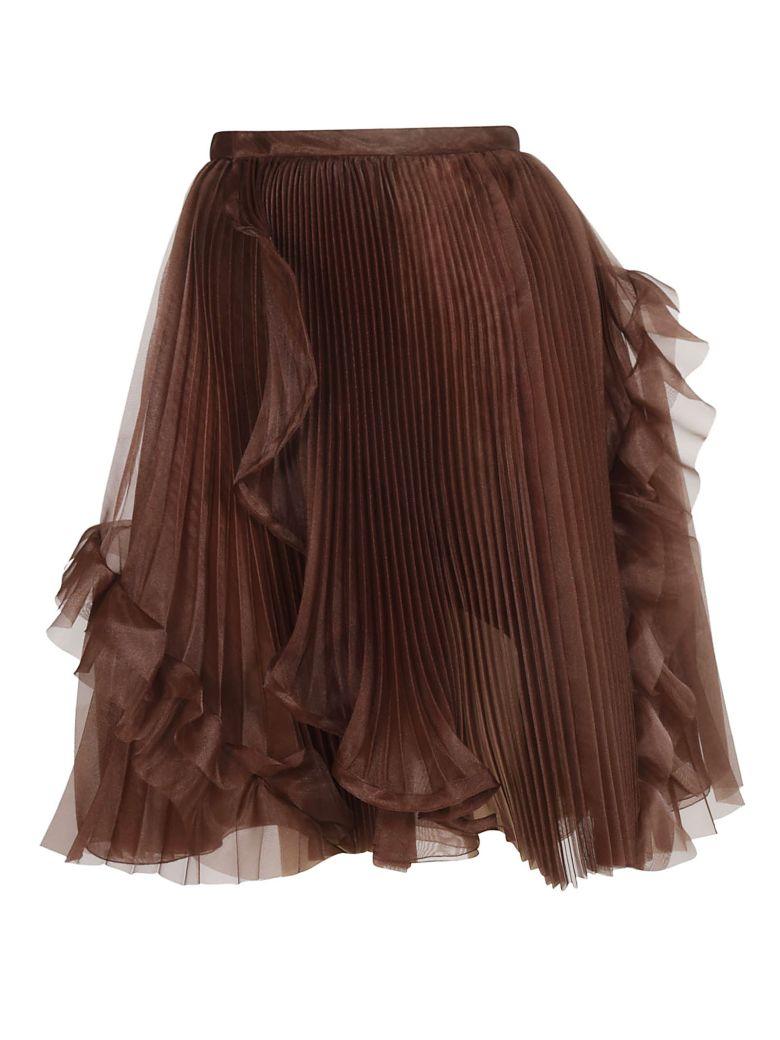 Ermanno Scervino Pleated Organza Skirt - Brown