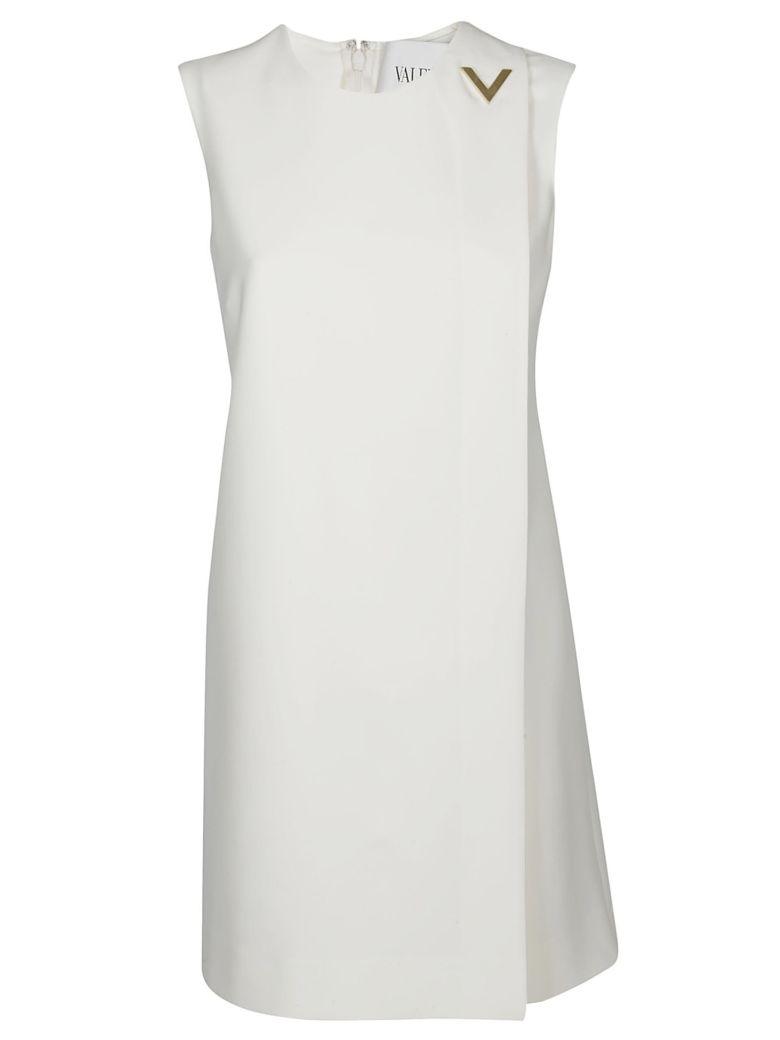 Valentino Brooch Embellished Dress - White
